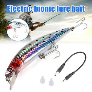 1x USB Rechargeable LED Light Fishing Lures Bait Electric Life-like Vibrate