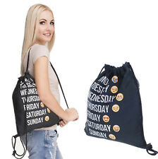 Fashion Gym Drawstring Backpack String Bag Emojis Sackpack for Girls and Boys
