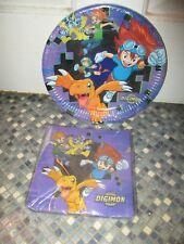 DIGIMON PARTY PLATES & 20 NAPKINS/SERVIETTES BRAND NEW VERY RARE
