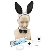 WHITE BLACK BUNNY GIRL SET HEN NIGHT Womens Ladies Fancy Dress Costume Kit