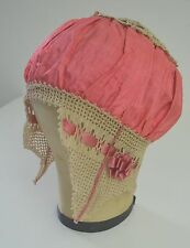 WONDERFUL VINTAGE CROCHET AND SILK BONNET SS434