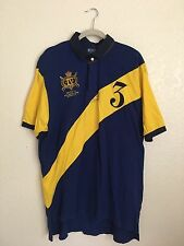 Men's Polo Ralph Lauren Blue Yellow Shirt #3 Patch Jockey Club Patch XXL