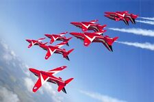 Postcard, Red Arrows Roll Upside down in tight formation over RAF Scampton 35L