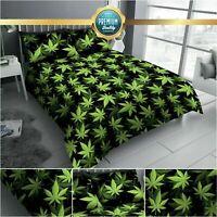 Leaf Green Print Duvet Cover Set Quilt Bed Set Weed Bedding Reversible Easy Care