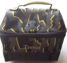 Pottery Barn Kids Retro Lunch Bag Lighting Bolts Gray PBT New Monogramed TREVOR