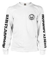 Harley-Davidson Men's Skull Badge Chest Pocket Long Sleeve Shirt, White