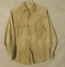 V7040 Penney's Sanforized Tan Button Up Long Sleeve 1940's Shirt Gussets Repairs