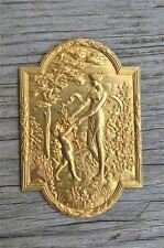 Superb small Victorian gilt brass lady cartouche mount furniture ormalu RZ4