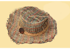 WOODSTOCK BOOGIE WOVEN HEMP HAT WITH WOOD BUTTON