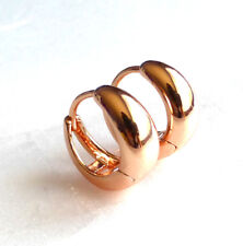 fashion1uk Small Creole Huggie Hoop Earrings Unisex Rose Gold Plated 14x6mm