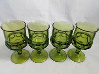 Four  Indiana Glass Co Kings Crown Thumbprint 8 Oz Drink Glasses Green Avocado