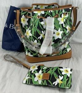 DOONEY and BOURKE Daffodil Drawstring Flower Tassel Bag with Pouch