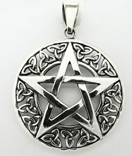 Sterling Silver (925)  Pentagram  With  Celtic  Triangles  Pendant  !!   New  !!