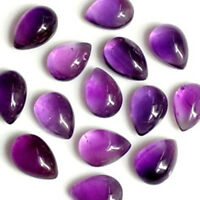 4x6 mm to 10x14 mm Pear Natural Amethyst Cabochon Loose Gemstone Wholesale Lot