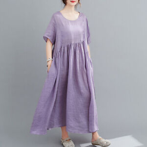 New Womens Linen Asymmetric Loose Casual Dress Short Sleeve Scoop Neck Tunic