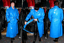 squeaky lined shiny blue wet look  pvc vinyl raincoat 50 chest SOLE SUPPLIER NEW