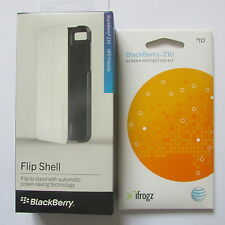 Blackberry Z10 Flip Shell Folio Case White NFC Friendly + Free iFrogz Screen-NIB