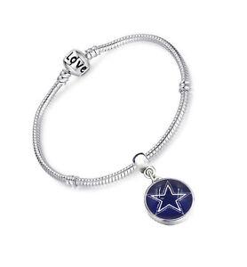 Dallas Cowboys Sterling Silver Womens Link Chain Football Bracelet w GiftPk D13