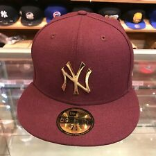 873a8483aefa3 New Era 59FIFTY New York Yankees Fitted Hat Cap Maroon Gold Metal Badge