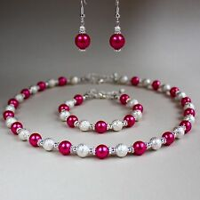 Hot pink pearl collar necklace earrings silver wedding bridesmaid jewellery set