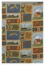 Campers Diary Fabric Shower Curtain Wilderness Retreat Fishing Lodge Moose Bears