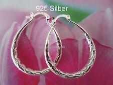 925 Silber Oval Damen Creolen ca.40 mm °5 mm Baumeln Hänger Glatt Wellen Muster