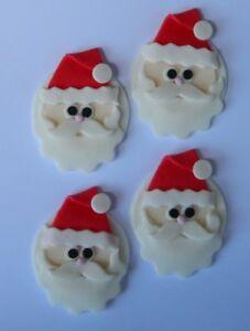 12 edible CHRISTMAS SANTA FACE cupcake cake topper decoration XMAS CUTE COOKIE