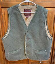 Abercrombie & Fitch Men XL Vest Cotton Sherpa Lined Distressed Green Hunting