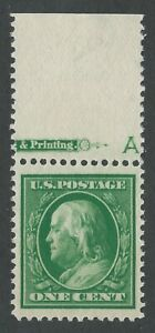 "US Scott #374 Mint OG NH XF-SUP (J) 1c Franklin, Top Partial Margin Single w ""A"""