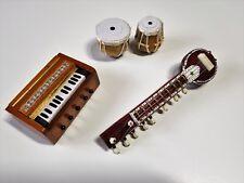 Hand Crafted Miniature Magnet Musical Instruments Tabla Set Harmonium Sitar