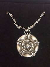 "TUDOR ROSE DR54 Made From Fine Pewter On 24"" Silver Plated Curb Necklace"