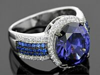 Women Gorgeous 925 Silver Fine Jewelry Huge Blue Sapphire Wedding Ring Size 6-10