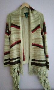 Ralph Lauren Linen / Wool Southwestern Boho Cardigan - Sz S/M - Tan
