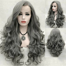 Gray Long Wavy Wigs Synthetic Lace Front Wig Glueless Heat Resistant Fiber Hair