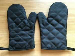 Klmnop Black Cotton Heat Resistant Quilted Kitchen BBQ Oven Gloves Pair