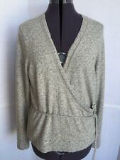 ANN TAYLOR Women's Sweater Large Angora Rabbit Hair Lambswool Wrap Style Gray