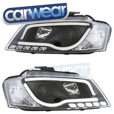 BLACK LED DRL BAR PROJECTOR HEADLIGHTS - AUDI A3 8P 09-12