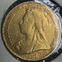 1899 GREAT BRITAIN UK Queen Victoria Gold Sovereign Coin St George