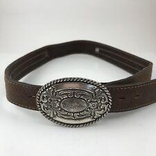 "Wrangler Youth Genuine Leather Belt & Blank Trophy Buckle Fits 23-28"" Waist"