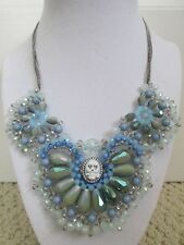 NWT Auth Betsey Johnson Lady Lock Blue Beaded Skull Cameo Scalloped Bib Necklace