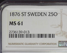 SWEDEN 1876 ST SILVER 25 ORE (KM#738) NGC MS 61