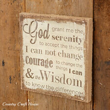 Primitive French Country Chic SERENITY PRAYER Burlap Picture Sign Wall Plaque