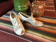 Vintage 1930's Ivory Mesh & Leather Oxford Shoes 6.5 AAA