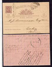 Portugal entero postal circulado Lisboa Cadiz año 1889 (CP-445)