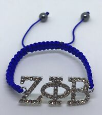Silver Plated Crystal Rhinestone ZETA PHI BETA Royal Blue Rope Macrame Bracelet