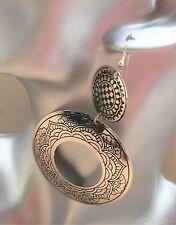 BohoCoho Quirky Boho Gypsy 70s style ethnic big silver tone dangle hoop earrings