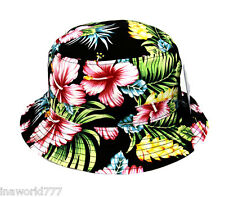 Bucket hat Boonie cap Hawaiian Pink flower floral cap Fishing Hiking Outdoor