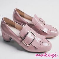 College Womens Buckle Tassel Pumps Shoes Slip On Loafers Block Heel Plus Size US