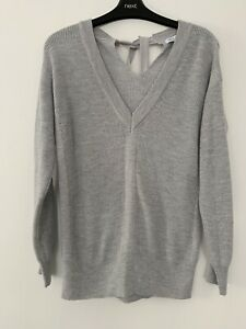 NEXT GREY V RELAXED SOFT CASHMERE MIX JUMPER WITH SILVER SIZE 10 Petite Ex Cond