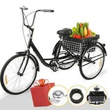 24 ZOLL 3 Rad Drei Räder für Erwachsenen Dreirad Fahrrad Trike mit Einkaufskorb